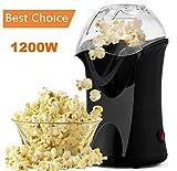 Popcorn Poppers, 1200W Hot Air Popcorn Popper Popcorn Machine, No Oil Needed (Black)