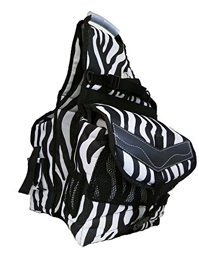 Horse Saddle Art (Deluxe Canvas Horse Saddle Bag Water Bottles Zebra Print)