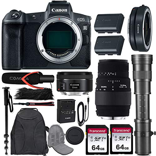 Canon EOS R Mirrorless Camera w/Extra Canon LP-E6N Battery Pack + 3 Lens Kit (EF 50mm f/1.8 STM + 70-300mm f/4-5.6 DG Macro + 420-800mm Zoom) + Mount Adapter EF-EOS R + Pro Accessory Bundle