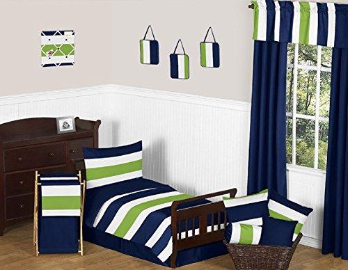 Sweet Jojo Designs Solid Navy Blue Toddler Bed Skirt for Stripes Collection Kids Boys Bedding Sets