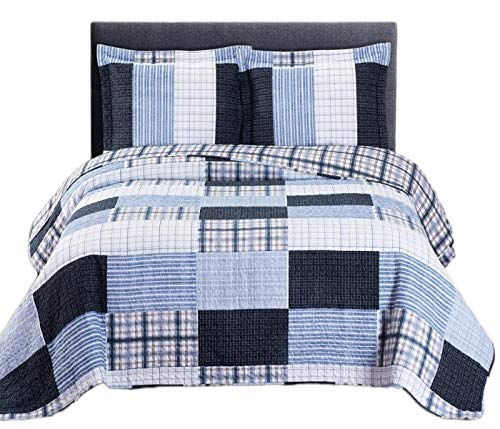 Royal Tradition Printed Patchwork Zoe, Microfiber, Oversized Full-Queen 3PC Quilt Set, Blue
