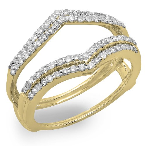 Dazzlingrock Collection 0.50 Carat (ctw) 14K Round Diamond Ladies Anniversary Wedding Band Enhancer Guard Double Ring 1/2 CT, Yellow Gold, Size 6 (Yellow Gold Ring Wrap)