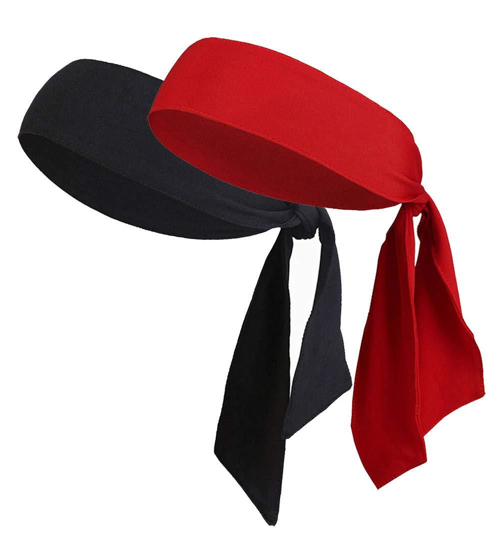 LIMOSUNO Dry Fit Head Ties for Women Men Tie Back Headbands Bulk Performance Elastic Moisture Wicking Non Slip for Running Basketball Tennis Yogo Pirates Workout (2pcs Black&Red)