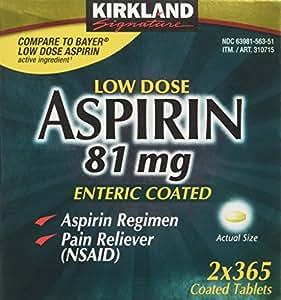 Kirkland Signature Low Dose Aspirin, 2 bottles - 365-Count Enteric Coated Tablets 81 mg each
