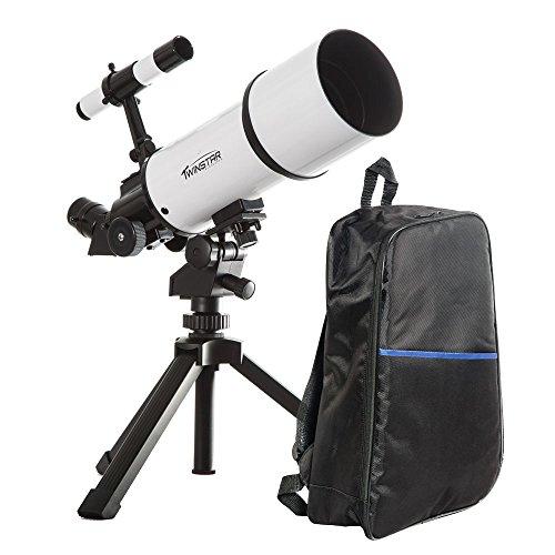 White TwinStar AstroMark 80mm 16-40x Power Portable Refracto