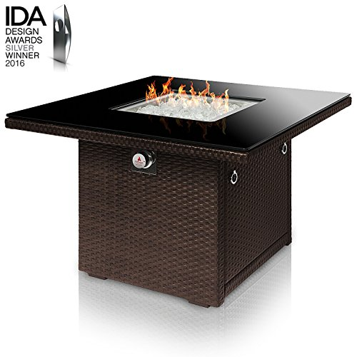 Outland Living Series 410 Brown 36-Inch Outdoor Propane Gas Fire Pit Table, Black Tempered Tabletop w/Arctic Ice Glass Rocks and Resin Wicker Panels, Espresso Brown/Square ()