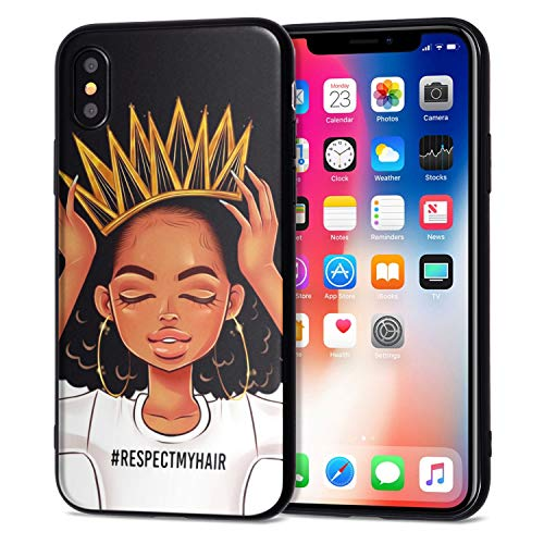 iPhone Xs Case iPhone X Case African American Afro Girls Women Slim Fit Shockproof Bumper Cell Phone Accessories Thin Soft Black TPU Protective Apple iPhone Xs Cases (09)