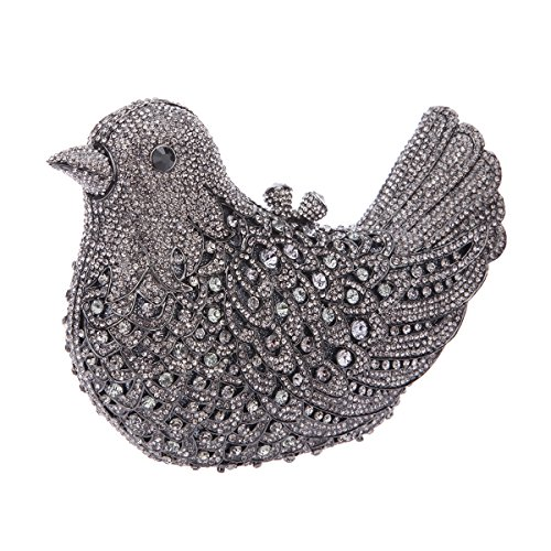 Clutch Purses Evening Blue Glitter Rhinestone Bonjanvye Girls Bag For Bird Gray xRTItOwqa