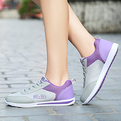 malla deportivos deportivas mujer transpirable señoras antiresbaladiza Violeta de zapatillas zapatos confort zapatillas mujer zapatos Luz exterior w4Xx86Tq4