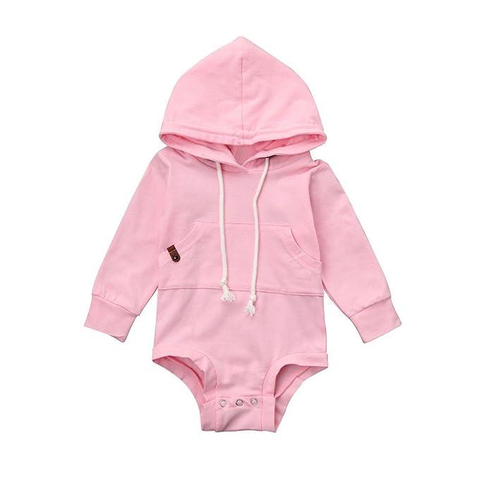 YanHoo Ropa para niños Suéter con Capucha de Color sólido Infantil y niño  Recién Nacido bebé niño niña con Capucha Mameluco Jumpsuit Tops Trajes Ropa  ... f30f6658b19
