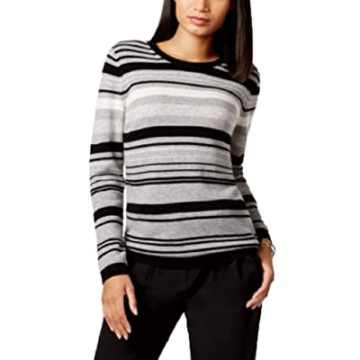 Charter Club Cashmere Striped Sweater (Classic Black Combo, M) at Women's Clothing store