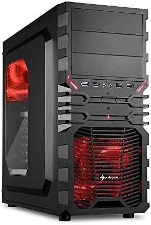 """Sharkoon VG4-W - Caja de ordenador gaming (semitorre ATX, iluminación y lacado interior ROJO, lateral acrílico, incluye 2 ventiladores LED, 3 bahías de 5,25""""), negro: Sharkoon: Amazon.es: Informática"""