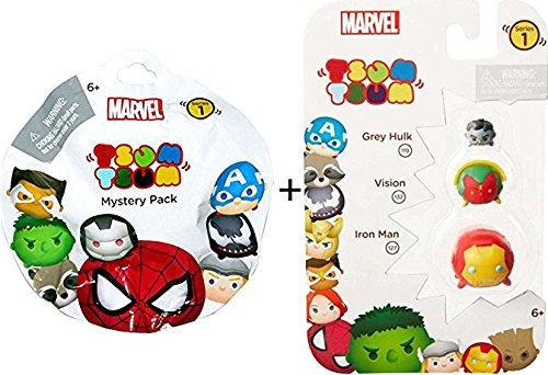 Marvel Tsum Tsum Wave 1 Grey Hulk/Vision/Iron Man 3 Pack Action Figures + Series 1 Mystery Pack Blind Bag Disney Marvel Character & Accessory