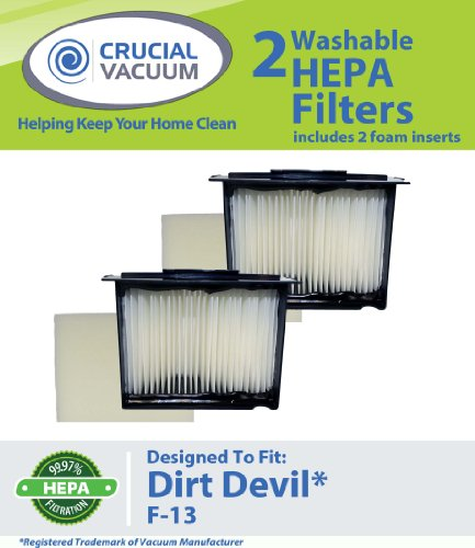 2 Dirt Devil F13 (F-13) Washable HEPA Filters Plus Foam Inserts Fits Dirt Devil Reaction Dual Cyclonic, Reaction All-Surface, Reaction Fresh, and Action Vacuum Cleaners: Compare to Dirt Devil F-13 Filter Part # 3LK0540001; Designed and Engineered By Crucial Vacuum, Appliances for Home