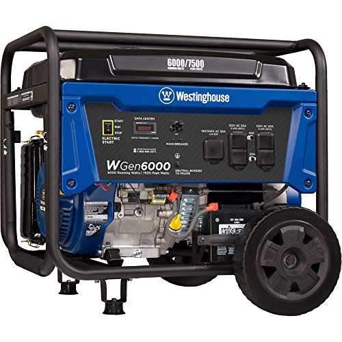 Westinghouse WGen6000 Portable Generator with Electric Start - 6000 Rated Watts & 7500 Peak Watts - Gas Powered - CARB Compliant (Portable Generator Electric Start)