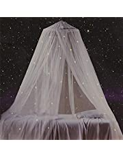 Bed Canopy with Fluorescent Stars Glow in Dark for Baby, Kids, Net Use to Cover The Baby Crib, Kid Bed, Girls Bed Or Full Size Bed, Fire Retardant Fabric