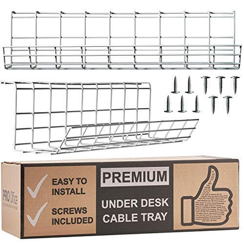 Under Desk Cable Management Tray - Cable Organizer for Wire Management. Metal Wire Cable Tray for Office and Home (White 2 Pack) (White Table Tray)