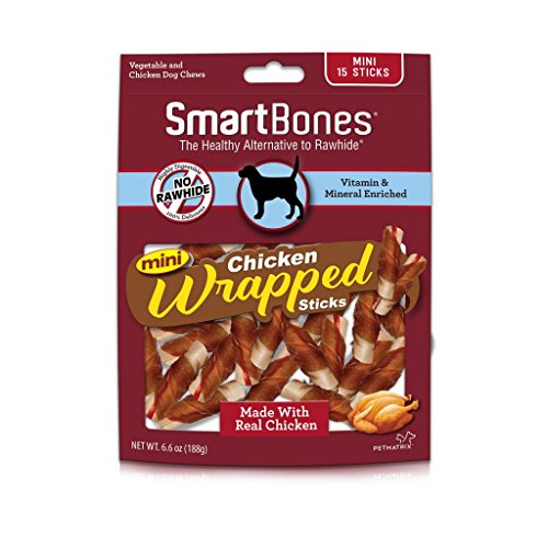 Smartbones Mini Chicken-Wrapped Sticks For Dogs, Rawhide-Free, 15 Count Chicken Mini Dog Treats
