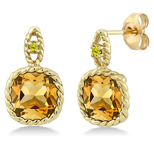 Citrine And Earrings Diamond (6.03 Ct Cushion Yellow Citrine Canary Diamond 10K Yellow Gold Earrings)