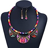 Bohemia Necklace Earring Set , Europe and America Popular Folk-custom Woven Rope Chain Cloth Pattern Paragraph Short Collar Gem Bead High-end Personality Jewelry Clothing Gift Women Decoration