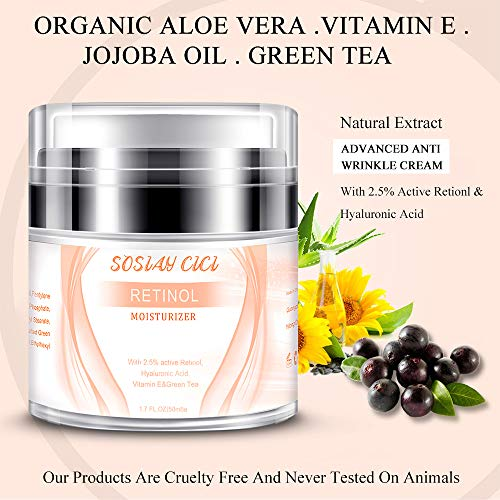 51VSmdZ200L - Face Moisturizer Anti-Wrinkle Retinol Cream Treatment with Combination of Green Tea, Vitamin E and Organic Aloe,Day and Night Anti Aging Eye Cream for Face and Eye 1.7 fl oz