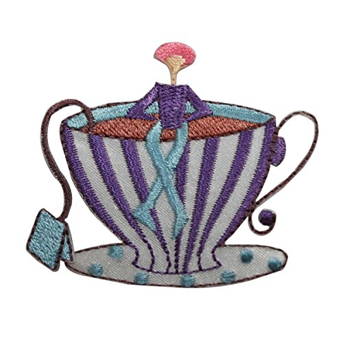 Embroidered Teacup - ID 7482 Tiny Person Sitting Tea Cup Patch Cafe Drink Embroidered IronOn Applique