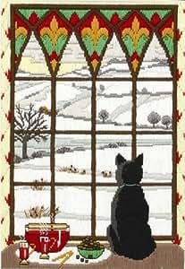 Anchor - Kit de bordado (puntada larga), diseño de ventana y paisaje invernal