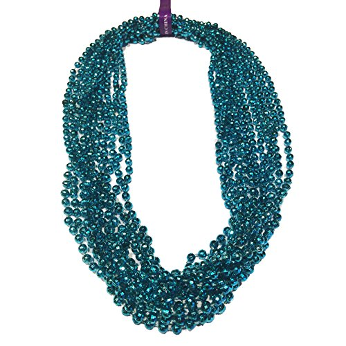 Elite Choice Beaded Party Necklaces Light Blue - 12 Bead Necklaces Per Pack - Great for Parties, Raves, Parades and Tailgating (Light Blue Necklaces)