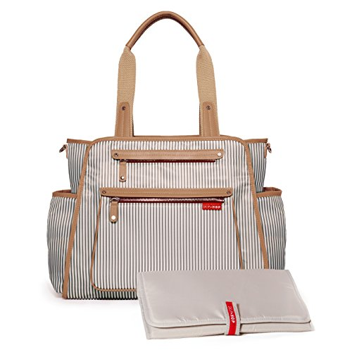 51VSmri%2B5EL Skip Hop Diaper Bag: Grand Central Take-It-All Tote with Changing Pad & Stroller Attachment, French Stripe    Our Grand Central diaper tote magically combines a compact modern style with an uncanny ability to hold more than you can imagine, tucked away and out of sight. High on style and superb in storage, it holds as much or as little as you want it to; it's the only diaper bag you'll ever need. Take it out for the day or away for the weekend Grand Central's three innovative sections organize everything mom needs, without feeling over-stuffed.