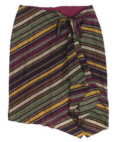 Lauren Ralph Lauren Women's Striped Silk Sarong Skirt (Medium, Multi)