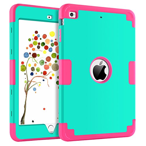 GUAGUA iPad Mini 1/2/3 Case Three Layer Shockproof Anti-slip Heavy Duty Full-body Rugged Hybrid Protective Case Cover for iPad Mini Retina,iPad Mini 2,iPad Mini 3,Mint Green&Rose by GUAGUA