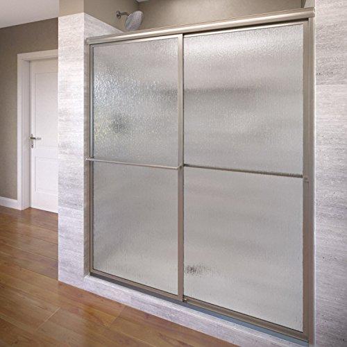 Basco Deluxe Shower Door Framed Rain Glass  Sliding Door, Brushed Nickel