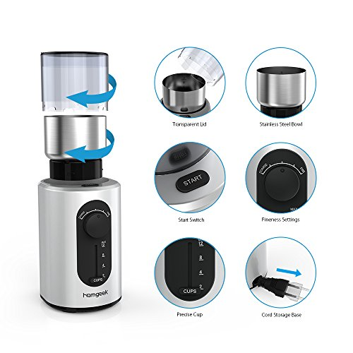 Homgeek Electric Coffee Grinder for Dry Spices Nuts Seeds with Grind Size and Cup Selection, Stainless Steel Blades, Removable Bowl, Cleaning Brush Included