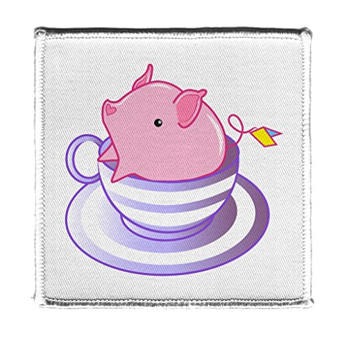(Teacup Pig In A Striped Purple Teacup Cute And Adorable Iron On Patch)