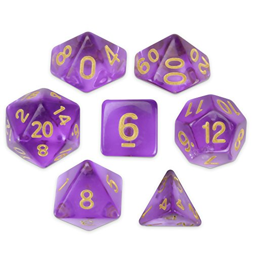 Wiz Dice Ambrosia Set of 7 Polyhedral Dice, Translucent Lavender Pastel Purple Tabletop RPG Dice with Clear Display Box