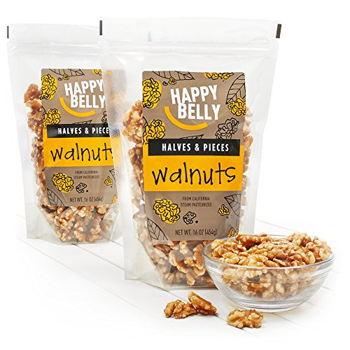 Happy Belly California Walnuts, Halves and Pieces, 16 Ounce,  Pack of 2