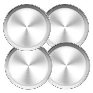 TeamFar Pizza Pan, 10 inch Pizza Pans Pizza Tray Stainless Steel for Oven Baking, Non Toxic & Healthy, Heavy Duty & Dishwasher Safe - 4 Pack