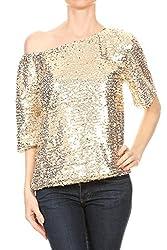 Women's Short Sleeve One Shoulder Sequin Top