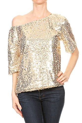 Anna-Kaci Womens Short Sleeve One Shoulder Sexy Sequin Top Blouse, Gold, (Plus Size 70s Clothing)