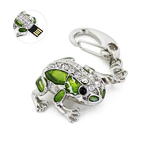 SXBan 32GB USB 2.0 Flash Drive Novelty Cute Frog Shape Animal Pen Drive Pendant Crystal Diamond Thumb Drive Memory Stick Key Chain (Frog Drive Flash)
