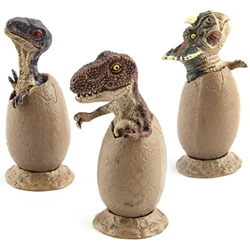 KOKIRI Educational Dinosaur Figure Toys Set, Eggs Model Ornaments Gifts for Collectors Kids(3 Pcs)