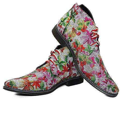 PeppeShoes Modello LSDkos - Cuero Italiano Hecho A Mano Hombre Piel Vistoso Chukka Botas Botines - Piel de Cabra Cuero Suave - Encaje