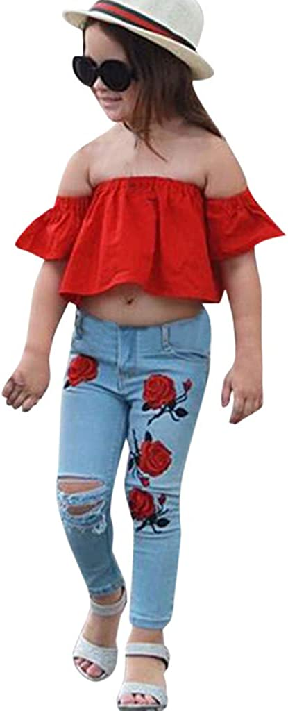 feiXIANG M/ädchen Kleidung Set Kleinkind Baby Schulterfrei Kurzarm Crop Tops Und Mittlere Taille Skinny Ripped Denim Hosen Set Kinder Sommer Kleidung 1-6 Jahre alt