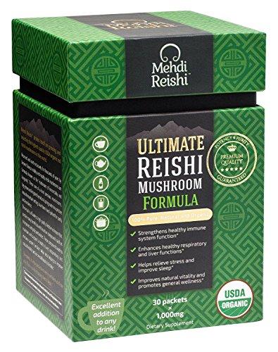 Ultimate Reishi Mushroom Formula by Mehdi Reishi – 30 Servings, 1,000mg–100% Pure, Natural, Organic Spores & Extract–Ganoderma Lucidum, Lingzhi – High Potency Beta-Glucan, Triterpenes