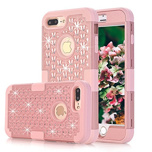 iPhone 7 Plus Case, MCUK 3 In 1 Hybrid Best Impact Defender Cover Silicone Rubber Skin Hard Combo Bumper with Scratch-Resistant Case For Apple iPhone 7 Plus (2016) (Rose (Crystal Clear Football)