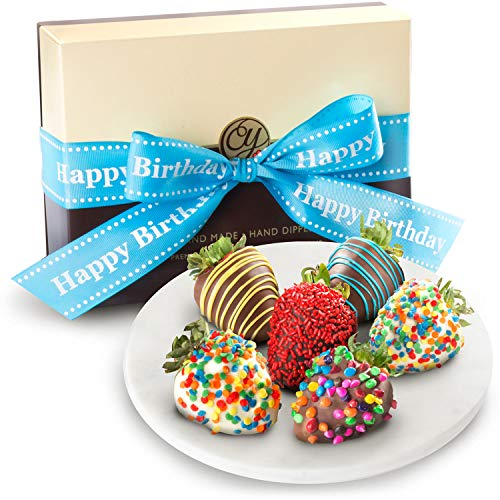 Golden State Fruit 6 Piece Happy Birthday Chocolate Covered ()