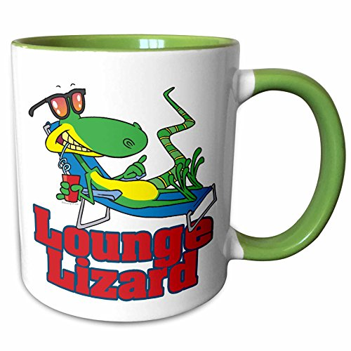 Lounging Lounge Lizard (3dRose Dooni Designs Random Toons - Lounging Lounge Lizard Cartoon - 11oz Two-Tone Green Mug (mug_104246_7))