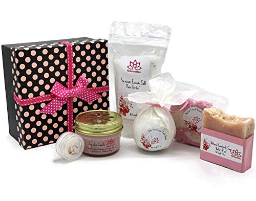 Bath Spa Gift Set For Women - Organic Handmade Polka Dot Basket with Natural Soap, Soy Wax Candle, Organic Bath Bomb, Lip Balm and Bath Salt - All Natural Ingredients - Made in USA