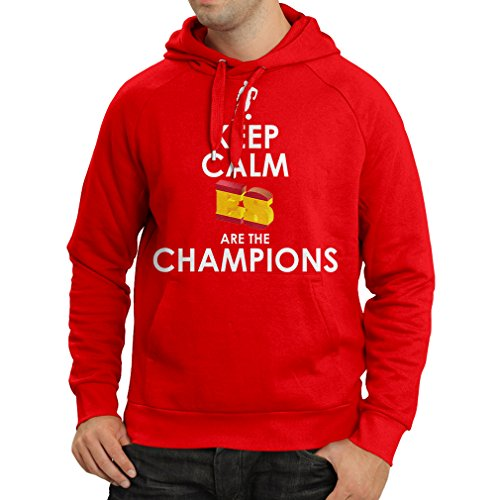 Hoodie Spaniards are The Champions, Russia Championship 2018, World Cup - Soccer Team of Spain Fan Shirt (Large Red Multi Color)