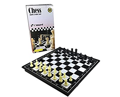 """C-Squared Magnetic Chess Set   Small Portable Game for Travel with Magnet Pieces   Educational Game for Adults and Kids Plastic   8"""" x 8"""" Folding Board"""